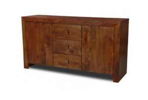 "Living Room Furniture Dark Dakota Solid Mango Sideboard In Well Known Hargrove 72"" Wide 3 Drawer Mango Wood Sideboards (View 11 of 30)"