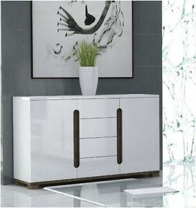 """Lorenz High Gloss White Wide Sideboard / Storage Chest With Well Known Reece 79"""" Wide Sideboards (View 20 of 30)"""