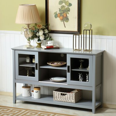 """Lorraine 48"""" Wide 2 Drawer Acacia Wood Drawer Servers For Famous Grey Sideboards & Buffets You'll Love In  (View 3 of 30)"""