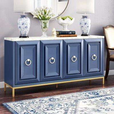 """Lorraine 48"""" Wide 2 Drawer Acacia Wood Drawer Servers With Regard To Most Popular Blue & Green Sideboards & Buffets You'll Love In  (View 19 of 30)"""