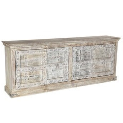 """Macdonald 36"""" Wide Mango Wood Buffet Tables Pertaining To Most Recent Oklahoma Farmhouse Distressed Hand Painted 4 Drawer Sideboard (View 17 of 30)"""