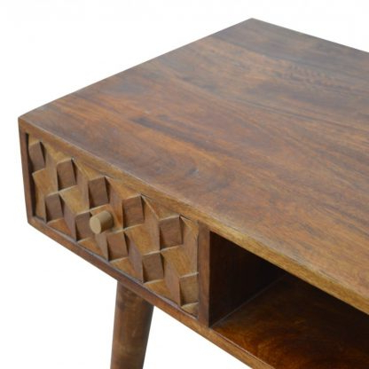 """Maddox 80"""" Wide Mango Wood Sideboards Throughout Fashionable Solid Mango Wood Chestnut Cube Carved Writing Desk With (View 23 of 30)"""