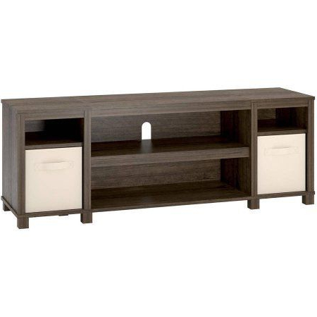 """Mainstays Payton View Tv Stand With 2 Bins For Tvs Up To With Regard To Trendy Shilo Tv Stands For Tvs Up To 65"""" (View 9 of 30)"""