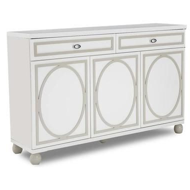 """Milena 52"""" Wide 2 Drawer Sideboards With Regard To Most Current 2 Drawers 3 Doors White Cloud Finish Ball Shaped Feet (View 27 of 30)"""