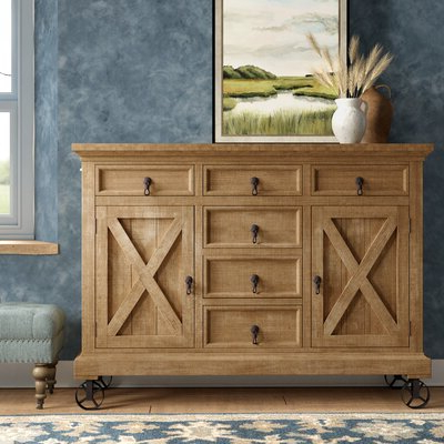 """Millstadt 52"""" Wide 3 Drawer Pine Wood Buffet Tables Inside Widely Used Farmhouse & Rustic Sideboards & Buffets (View 21 of 30)"""