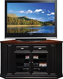 """Most Current Amazon: Leick Furniture 62"""" Corner Tv Stand, Black Rub Within Blaire Solid Wood Tv Stands For Tvs Up To  (View 18 of 30)"""
