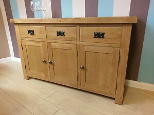 """Most Current Brentley 54"""" Wide 1 Drawer Sideboards Pertaining To Kingsford Solid Oak Large Wide 3 Door Sideboard / Cupboard (View 11 of 30)"""