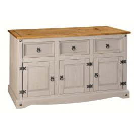 """Most Current Corona Grey Sideboard 3 Door 3 Drawer Large Mexican Solid Pine In Isra 56"""" Wide 3 Drawer Sideboards (View 14 of 30)"""