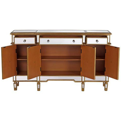 """Most Current Myndi 60"""" Wide Sideboards In Bailey 60"""" Wide 4 Door Gold Mirrored Buffet Console (View 19 of 30)"""