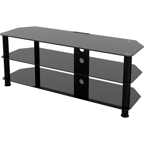 """Most Current Whittier Tv Stands For Tvs Up To 60"""" Throughout King Glass Tv Stand 125cm, Black Legs, Black Glass, Cable (View 4 of 30)"""