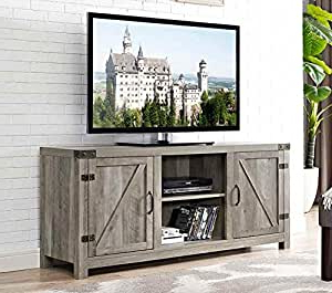"""Most Popular Adrien Tv Stands For Tvs Up To 65"""" Regarding Amazon: Grey Wash Wood Barn Door For Up To 65 Inch Tv (View 11 of 30)"""
