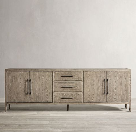 """Most Popular French Contemporary Panel 4 Door Sideboard With Drawers In Ismay 56"""" Wide 3 Drawer Sideboards (View 18 of 30)"""