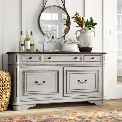 """Most Popular Ismay 56"""" Wide 3 Drawer Sideboards In Distressed Finish Sideboards & Buffets You'll Love In  (View 5 of 30)"""