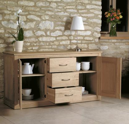 Most Popular Mobel Solid Oak Modern Large Sideboard 3 Drawer 2 Door Within 3 Drawer And 2 Door Cabinet With Metal Legs (View 13 of 30)