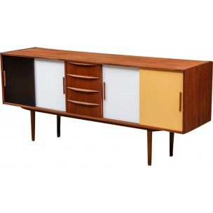 """Most Popular Nahant 36"""" Wide 4 Drawer Sideboards Throughout Danish Sideboard With Multi Coloured Sliding Doors – 1970s (View 16 of 30)"""
