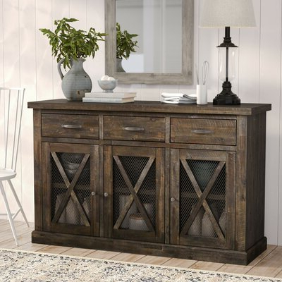 """Most Popular Westhoff 70"""" Wide 6 Drawer Pine Wood Sideboards Throughout Distressed Finish Sideboards & Buffets You'll Love In  (View 4 of 30)"""