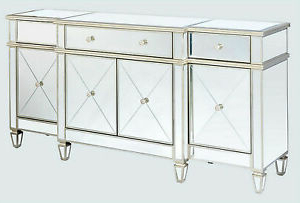 """Most Recent 76"""" Park Avenue Glamorous Contemporary 4 Door Mirrored Within Park Credenzas (View 19 of 30)"""