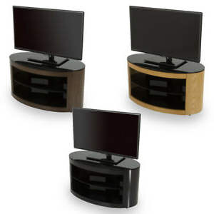 Most Recent Avf Buckingham Oval Tv Stand Rounded Round Wood & Glass Inside Blaire Solid Wood Tv Stands For Tvs Up To  (View 22 of 30)