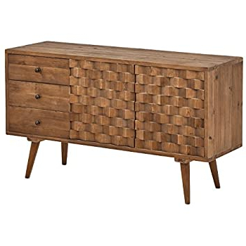 """Most Recent Blade 55"""" Wide Sideboards With Regard To Amazon – Rubber Wood Tessuto Buffet In Tobacco Finish (View 20 of 24)"""