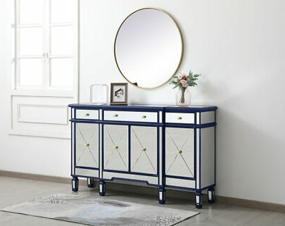 """Most Recent Blue And Mirrored Finish Credenza Buffet Sideboard 4 Doors Intended For Caila 60"""" Wide 3 Drawer Sideboards (View 28 of 30)"""