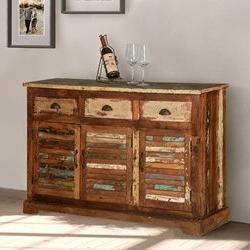"Most Recent Isra 56"" Wide 3 Drawer Sideboards Regarding Bray Reclaimed Wood Shutter Door 3 Drawer Rustic Sideboard (View 5 of 30)"