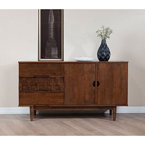 """Most Recent Kidham 68"""" Wide Sideboards Pertaining To Rubber Wood Tessuto Buffet In Tobacco Finish – Assembly R (View 24 of 30)"""