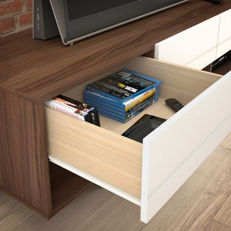 """Most Recent Leafwood Tv Stands For Tvs Up To 60"""" Regarding Nexera 60 Inch Sequence Tv Stand, Walnut & White (View 13 of 30)"""