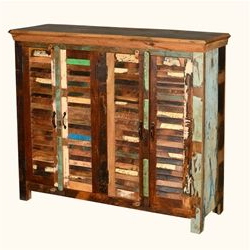 """Most Recent Searsport 48"""" Wide 4 Drawer Buffet Tables Inside Reclaimed Wood Rustic Shutter Door Sideboard Buffet (View 26 of 30)"""