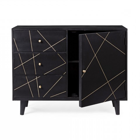"""Most Recent Sideboard In Black Mango Wood With Brass Decorations Throughout Beckenham 73"""" Wide Mango Wood Buffet Tables (View 18 of 30)"""
