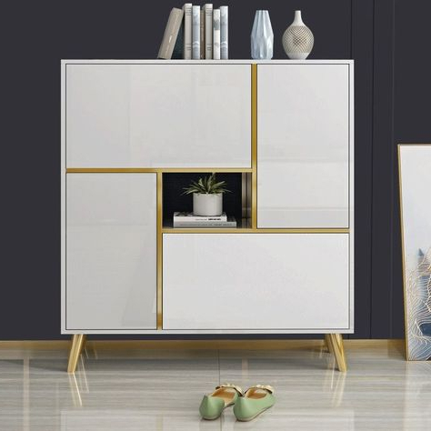 Most Recent White / Black 17 Pair Shoe Storage Cabinet Modern 2 Doors Regarding Wood Accent Sideboards Buffet Serving Storage Cabinet With 4 Framed Glass Doors (View 5 of 30)
