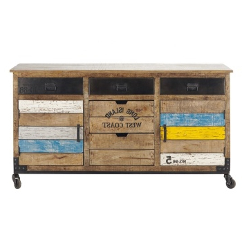 """Most Recent Zinaida 59"""" Wide Mango Wood Buffet Tables Throughout Solid Mango & Recycle Wooden Industrial Furniture Two Door (View 20 of 30)"""