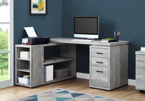 """Most Recently Released 60"""" L Shaped Office Desk In Grey Woodgrain (View 27 of 30)"""