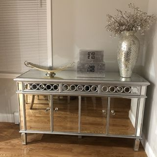 "Most Recently Released Eskew 60"" Wide Sideboards In Elizabeth 60"" Wide 4 Door Silver Mirrored Buffet Cabinet (View 21 of 30)"