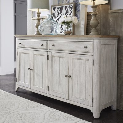 """Most Recently Released Westhoff 60"""" Wide 6 Drawer Pine Wood Credenzas Inside Farmhouse & Rustic White Sideboards & Buffets (View 10 of 30)"""