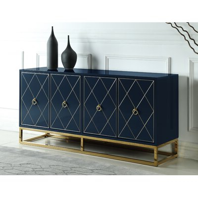 """Most Up To Date Electra 46"""" Wide 4 Drawer Acacia Wood Buffet Tables Intended For Blue & Green Sideboards & Buffets You'll Love In  (View 10 of 30)"""