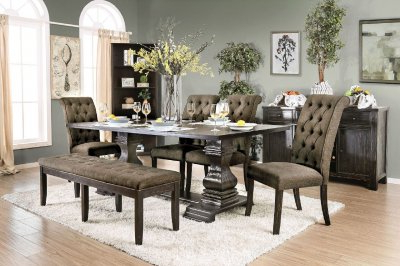 Nerissa Dining Table Cm3840t In Antique Black W/options Throughout Favorite Bartolomeus (View 28 of 30)