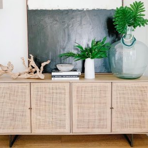 """Newest Hargrove 72"""" Wide 3 Drawer Mango Wood Sideboards Intended For Dolores 72"""" Cane Console Table In (View 24 of 30)"""