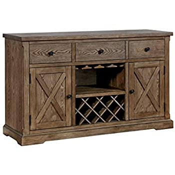 Newest Wood Accent Sideboards Buffet Serving Storage Cabinet With 4 Framed Glass Doors In Amazon – Ashley Furniture Signature Design – Moriville (View 2 of 30)