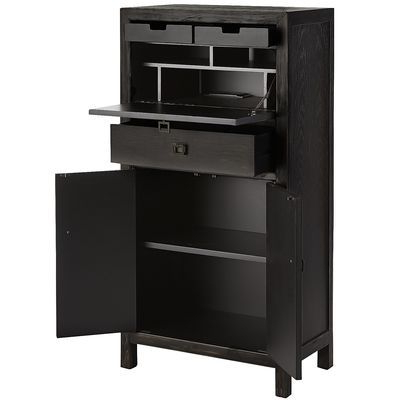 """Nian Secretary Cabinet – Rubbed Black 25""""wide X 14""""deep X In Recent Ronce 48"""" Wide Sideboards (View 23 of 30)"""