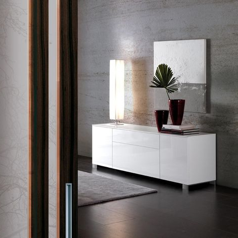 """Oliver B 2 Doors 2 Drawers Sideboard, High Gloss White Inside Latest Ismay 56"""" Wide 3 Drawer Sideboards (View 22 of 30)"""