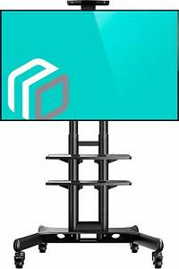 """Onkron Mobile Tv Stand Tv Cart With Wheels & 2 Av Shelves With Famous Adrien Tv Stands For Tvs Up To 65"""" (View 12 of 30)"""