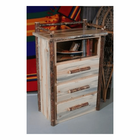 Pine 3 Drawer Chest W/shelf For 2019 Kaysville (View 4 of 30)