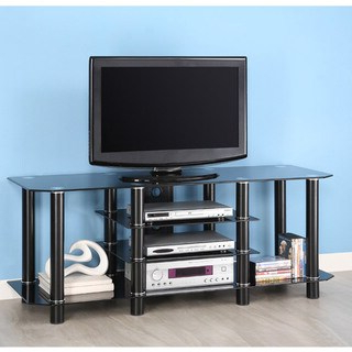 """Popular Alannah Tv Stands For Tvs Up To 60"""" Regarding Shop Black Glass 60 Inch Tv Stand – Overstock –  (View 12 of 30)"""