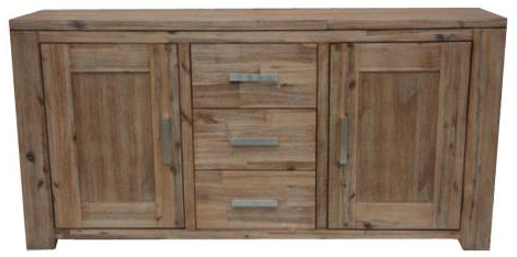 """Popular Lindor Acacia Wood 3 Drawer 2 Doors Buffet – Buffets Inside Desirae 48"""" Wide 2 Drawer Sideboards (View 23 of 30)"""