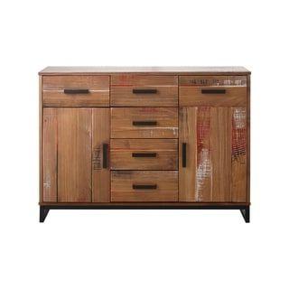 "Popular Milena 52"" Wide 2 Drawer Sideboards Within Santana Pine And Metal 2 Door 6 Drawer Sideboard (View 4 of 30)"