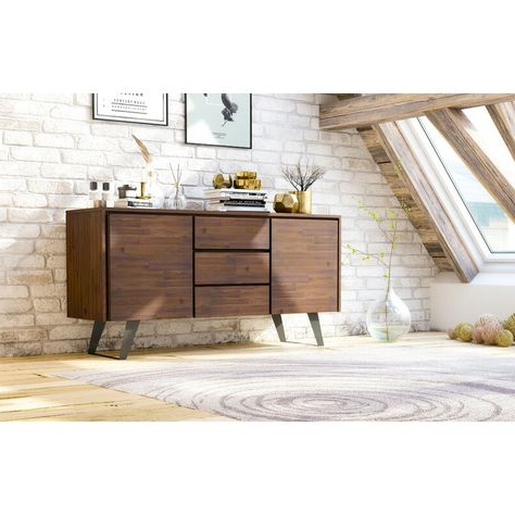 """Popular Myndi 60"""" Wide Sideboards Regarding Midway 60"""" Wide 3 Drawer Acacia Wood Buffet Table (View 26 of 30)"""