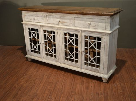 """Popular Rustic Solid Wood Distressed White Tv Console / China In Thame 70"""" Wide 4 Drawers Pine Wood Sideboards (View 27 of 30)"""
