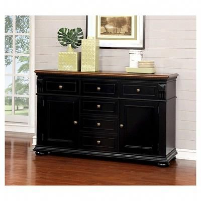 Popular Sun & Pine Martha Country Server – Cherry And Black # Inside  (View 2 of 30)