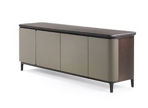 Popular Wood Accent Sideboards Buffet Serving Storage Cabinet With 4 Framed Glass Doors For Laminated Sideboard With 3 Doors, Glass Shelves, For Stays (View 11 of 30)