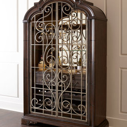 Popular Wood Accent Sideboards Buffet Serving Storage Cabinet With 4 Framed Glass Doors For Wrought Iron Doors Buffets & Sideboards: Find Credenzas (View 9 of 30)